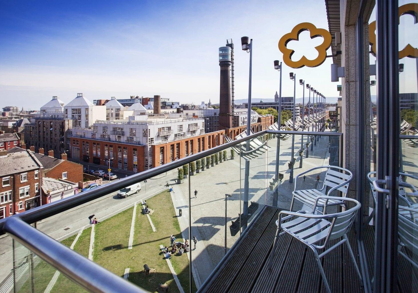 View of Smithfield Square from Maldron Hotel Smithfield Dublin Balcony Room
