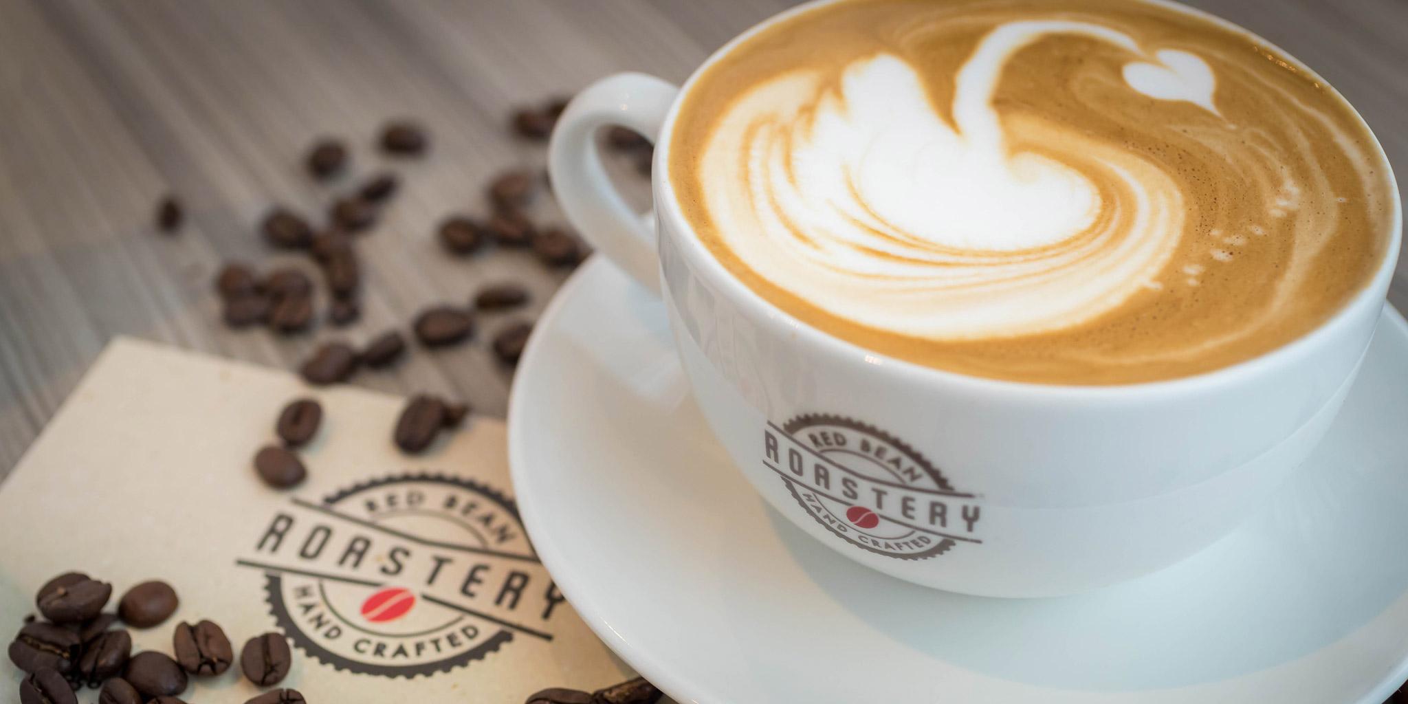 Red bean roastery coffee mug