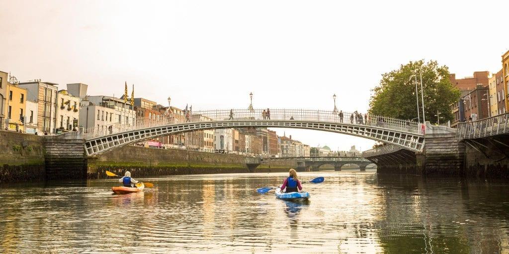 People kayaking along the River Liffey